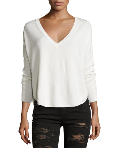 Bobbie V-Neck Round-Hem Sweater, Neutral