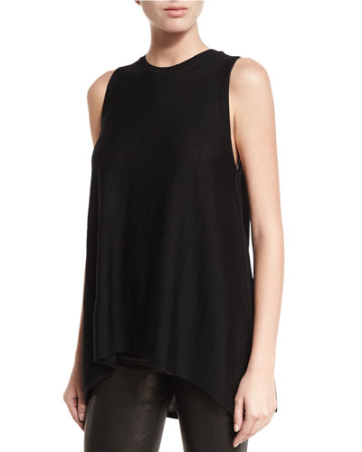 Karma Crewneck High-Low Muscle Tank, Black