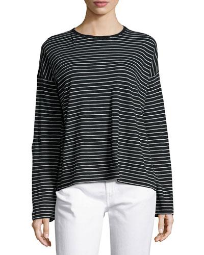 Relaxed Long-Sleeve Crewneck T-Shirt, Black/White Stripes