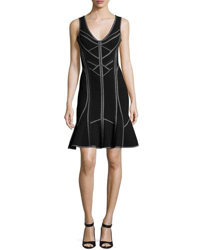 Sleeveless V-Neck Flounce Dress, Black