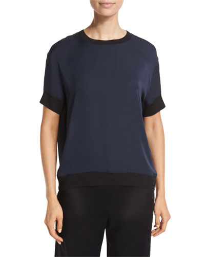 Contrast-Trim Silk Tee, Blue/Black