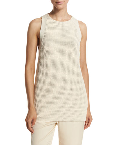 Waffle-Stitch Sleeveless Tunic Sweater, Off White