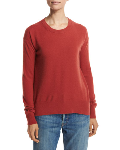 Boxy Cashmere Pullover Sweater, Red