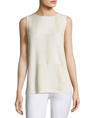 Ombre-Stitched Stretch-Cotton Tank, Multi