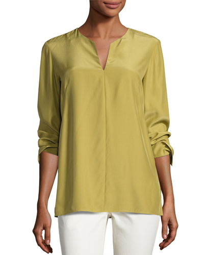 York Matte Silk Blouse, Green