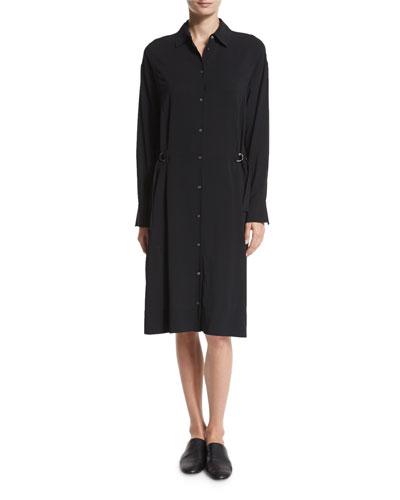Vince Drawstring Sleeveless Shirtdress, Black