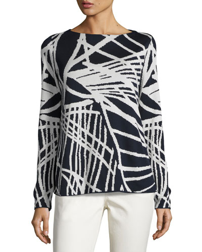 Bateau-Neck Spindle-Patterned Jacquard Sweater, Multi