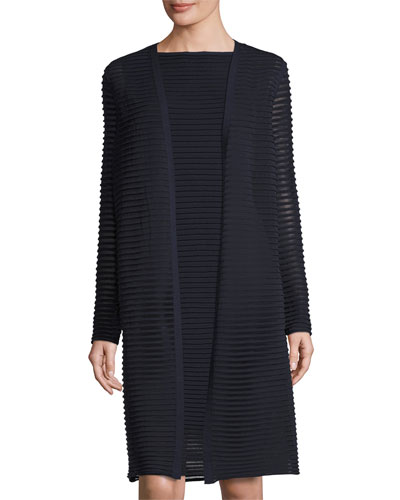 Sheer Pleated Stretch-Crepe Long Cardigan, Dark Blue