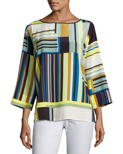 Bateau-Neck Striped Silk Blouse, Multi