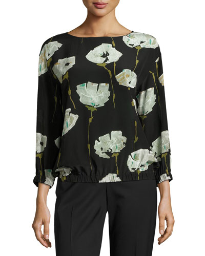 Evie Bateau-Neck Pressed Peonies-Print Silk Blouse, Multi