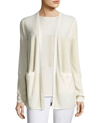 Ombre-Stitched Stretch-Cotton Cardigan, Multi