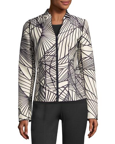 Linette Zip-Front Spiral-Print Jacquard Jacket, Multi