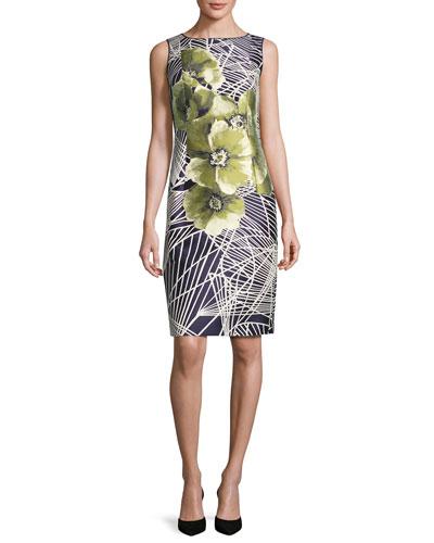 Faith Sleeveless Floral-Print Jacquard Sheath Dress, Multi