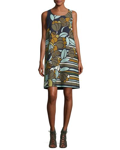 Sleeveless Floral-Print Cloqué Shift Dress, Multi