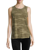 The Muscle Tee Camo-Print Tank, Green Pattern