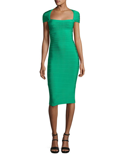 Square-Neck Cap-Sleeve Bandage Dress, Green Opal