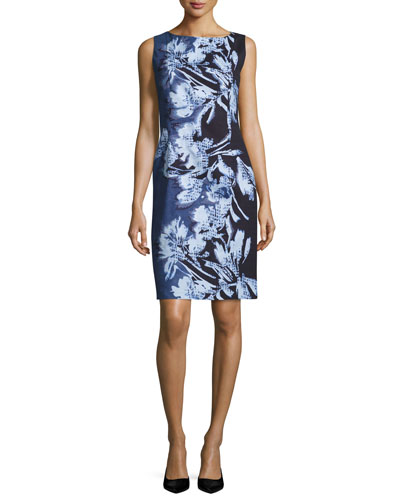 Faith Sleeveless Floral-Print Sheath Dress, Multi