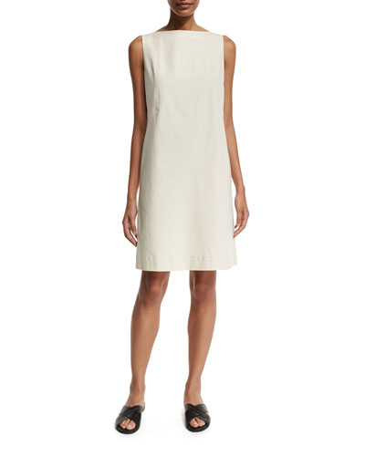 Kristianne Sleeveless Bateau-Neck Dress, Beige
