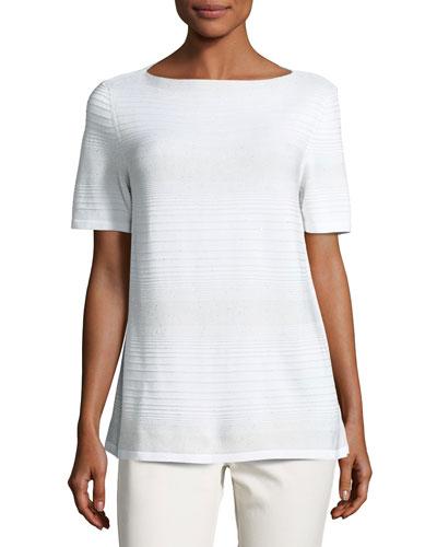 Short-Sleeve Sequined Degrade Sweater, Ivory