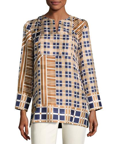 Adeline Bracelet-Sleeve Plaid Silk Blouse, Multi