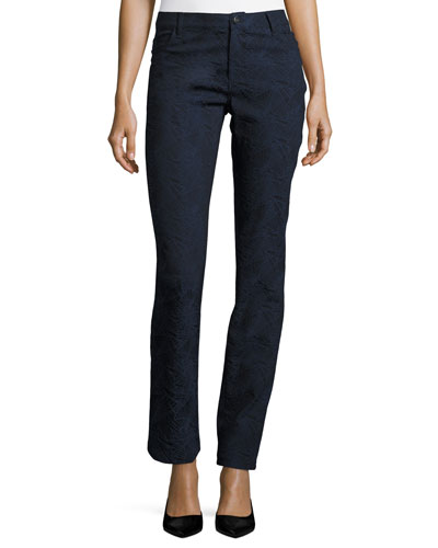 Thompson Abstract Jacquard Slim-Leg Jeans, Dark Blue