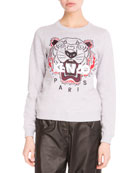Light Brushed Cotton Tiger Sweatshirt, Light Gray