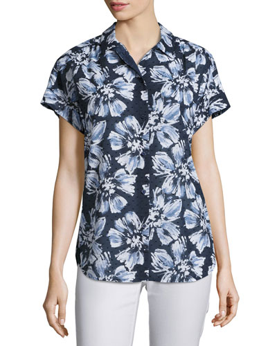 Irina Short-Sleeve Floral-Print Blouse, Multi