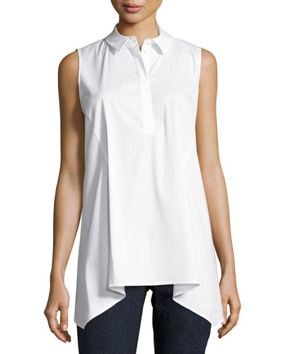 Hollyn Sleeveless Sharkbite-Hem Blouse, White