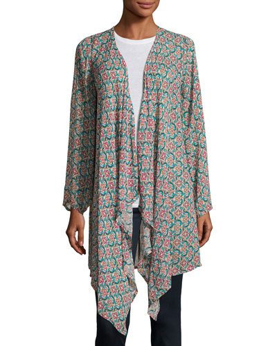 Gigi Georgette Elephant-Print Open-Front Jacket, Multi, Plus Size