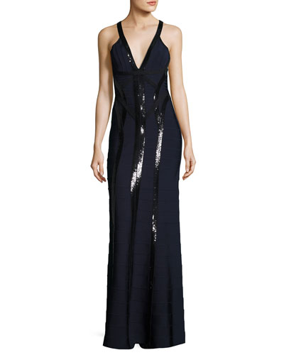 Sequined Sleeveless Deep V Gown, Pacific Blue