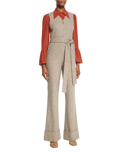 V-Neck Button-Front Herringbone Jumpsuit, Brown