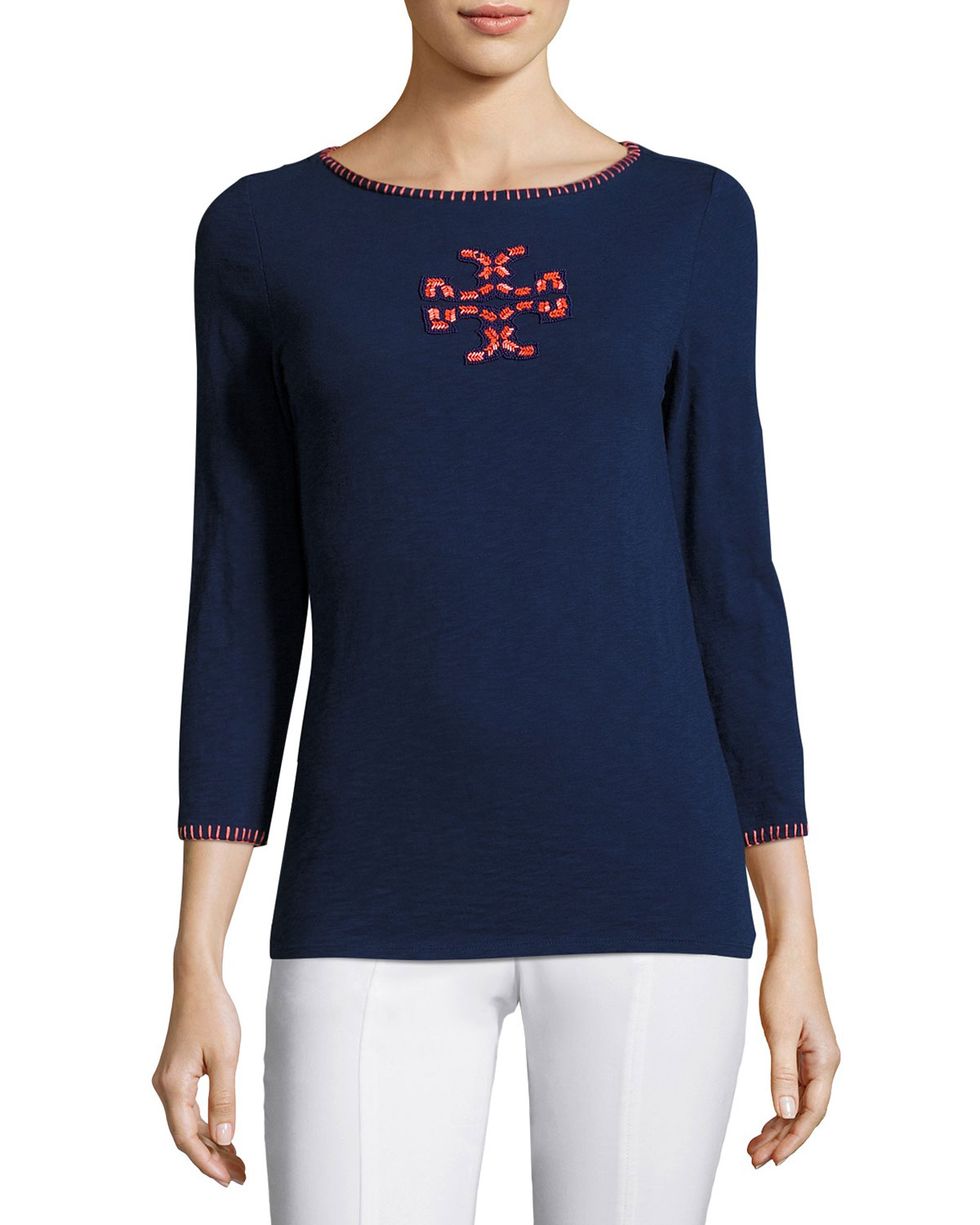 3/4-Sleeve Boat-Neck Beaded Logo Top, Navy