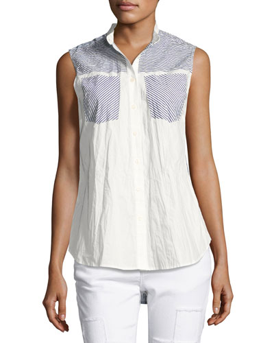 Striped-Combo Sleeveless Shirt, Blue Pattern