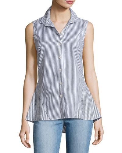 Striped Sleeveless Peplum Shirt, Blue Pattern