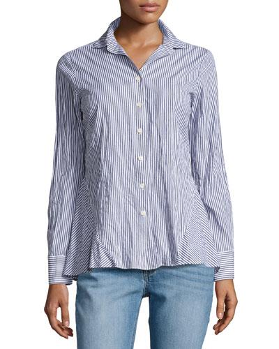 Striped Long-Sleeve Peplum Shirt, Blue Pattern