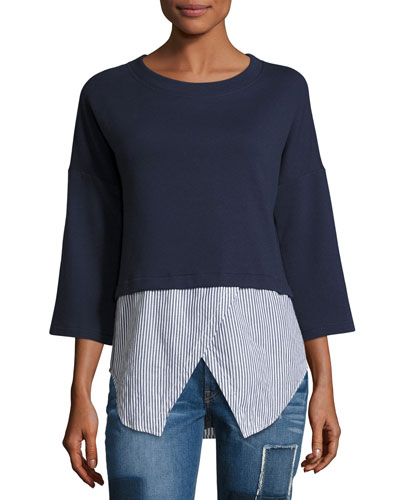Faux 2-in-1 Sweatshirt & Shirt Combo Top, Navy