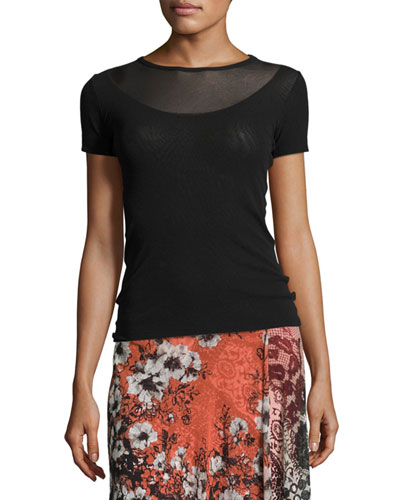 Short-Sleeve Illusion-Neck Top, Black