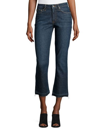 Gia Mid-Rise Crop Flare-Leg Jeans