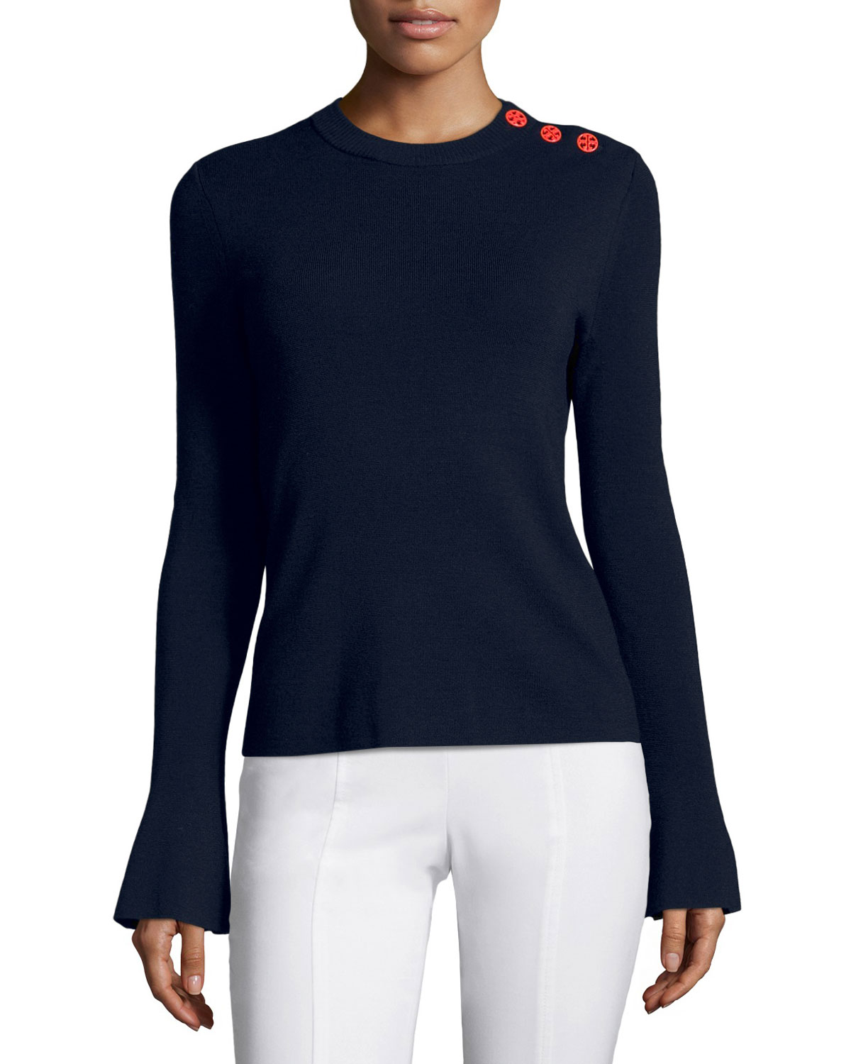 Kimberly Bell-Sleeve Merino Sweater w/ Buttons, Navy