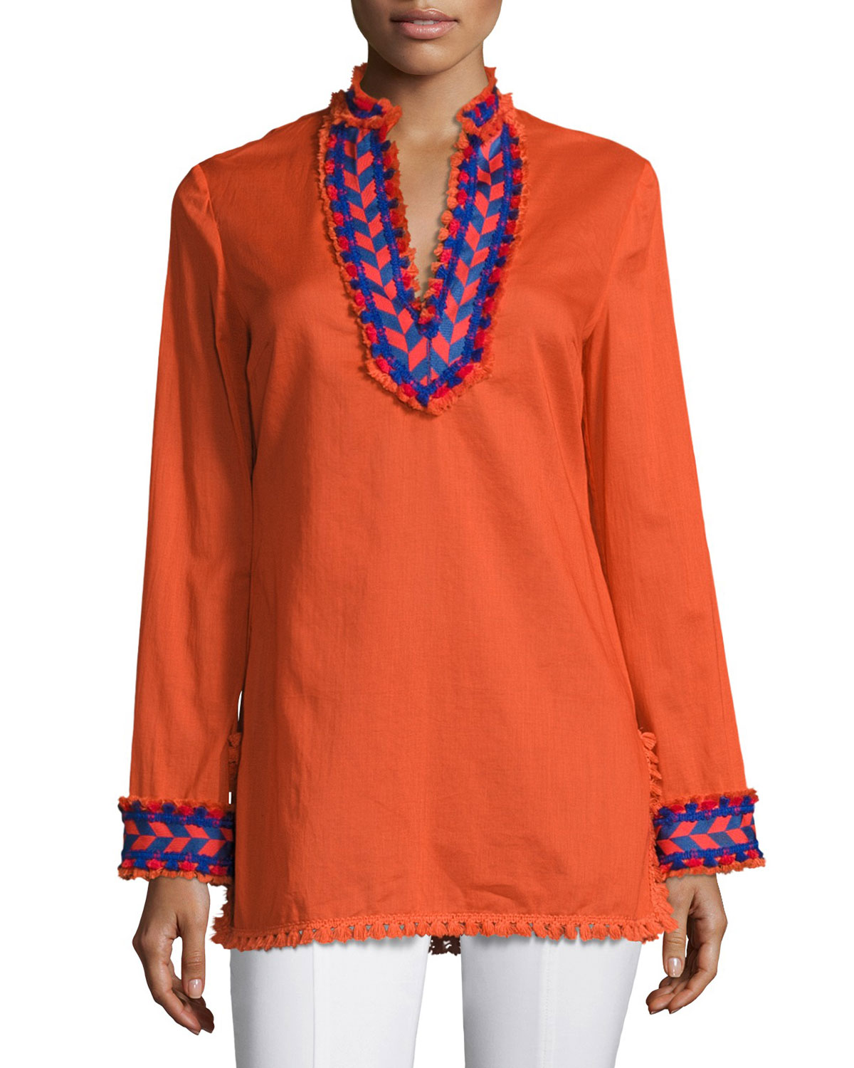 Samba Fringe-Trim Cotton Tunic Top, Orange