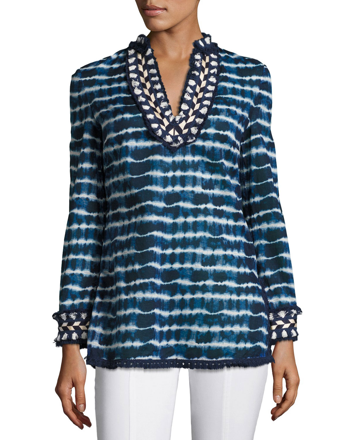 Tie-Dye Striped Tory Tunic, Blue/White