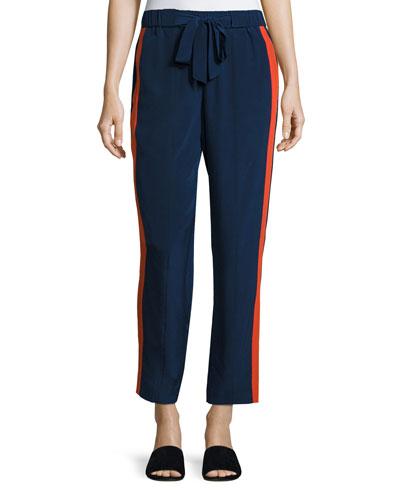 Desmond Side-Stripe Drawstring Pants, Navy Sea/Orange