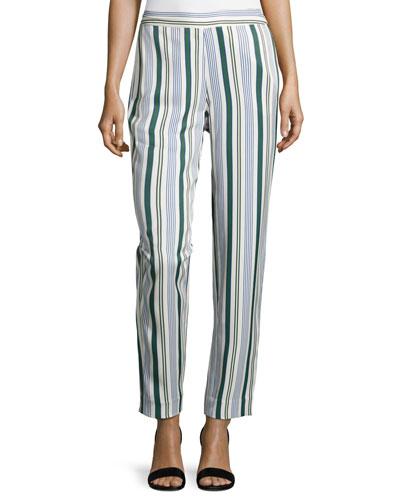 Villa Striped Straight-Leg Pants