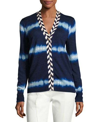 Lorna Tie-Dye V-Neck Cardigan, Blue/Multi