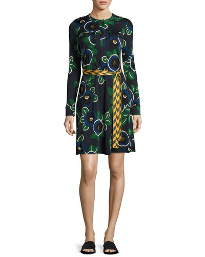 Portia Floral-Print Jersey Shirtdress, Blue Pattern