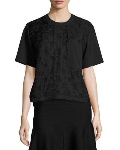 Short-Sleeve Boxy Jacquard Cloque Top, Black