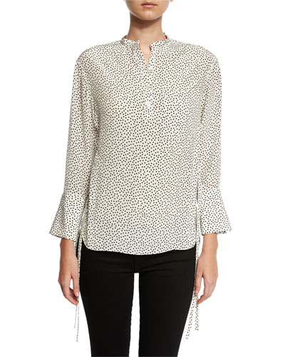 Silk Polka-Dot Blouse, Cream/Black