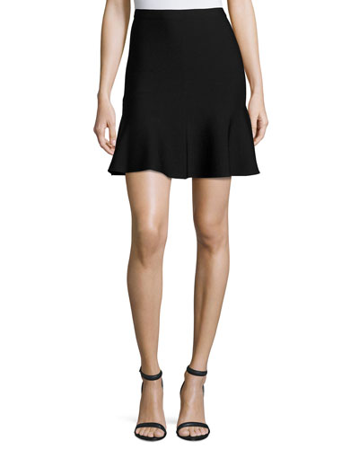 Ponte Fit-and-Flare Mini Skirt, Black