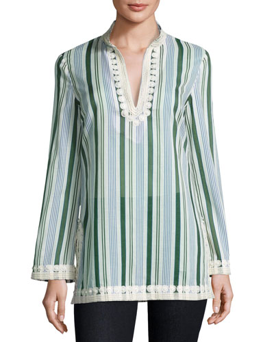 Cliff Striped Long-Sleeve Tunic, Multi