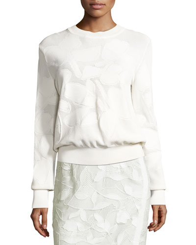 Textured Intarsia Pullover Sweater, White